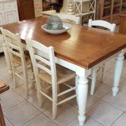 tavolo-toscano-legno-vecchio-allungabile-base-finitura-laccata, Mobili country Siena e Firenze.