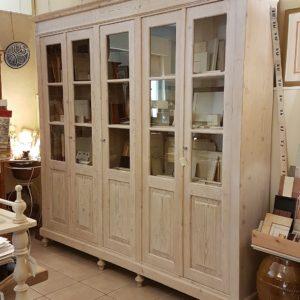 Libreria antica toscana in legno di abete metà Ottocento, cinque ante. Mobili antichi Siena e Firenze