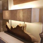 Lampada Sunset Nature Design in legno antico spazzolato con radici di mangrovie. Particolare laterale. Arredamento contemporaneo Siena e Firenze