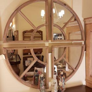 Specchiera Vintage in legno di pino naturale rotonda.Arredamento contemporaneo su misura Siena e Firenze