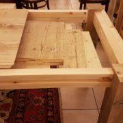 Tavolo rettangolare in legno di abete antico allungabile.Apertura allunghe interne. Arredamento contemporaneo su misura Siena e Firenze