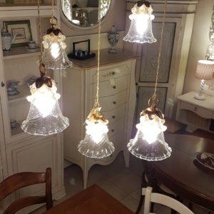Lampadario a cinque pendenti in cristallo di murano. Arredamento classico contemporaneo Siena e Firenze