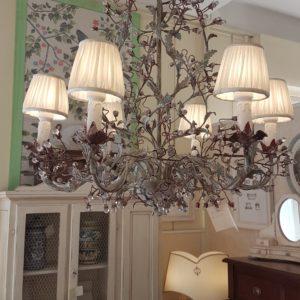 Lampadario in ferro e perle Swarovsky a sei luci.Arredamento classico contemporaneo Siena e Firenze