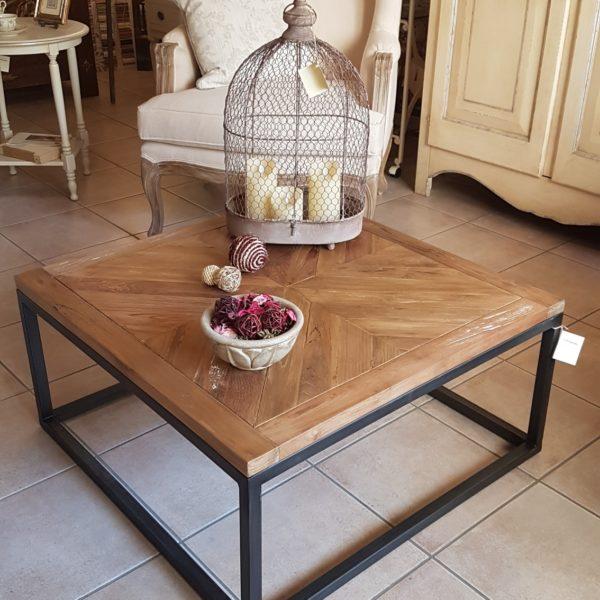 Tavolino con basamento in ferro e piano in legno antico massello.Arredamento classico contemporaneo Siena e Firenze