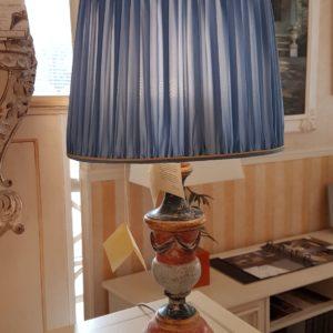 Lampada candelabro in legno intagliato con laccatura policroma anticata e foglia oro. Arredamento classico contemporaneo Siena e Firenze