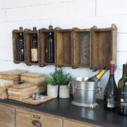 Pannello porta bottiglie realizzato unendo sei antichi stampi in legno per mattoni. Mobili country Siena e Firenze (2)