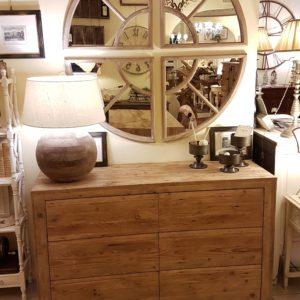 Cassettiera Re-Wood in abete antico a 6 casetti con push-pull. Arredamento classico contemporaneo Siena e Firenze