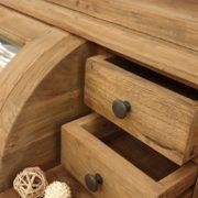 Credenza con alzata a vetrina in legno di teak antico riciclato.Particolare cassetti piccoli.Arredamento classico contemporaneo Siena e Firenze