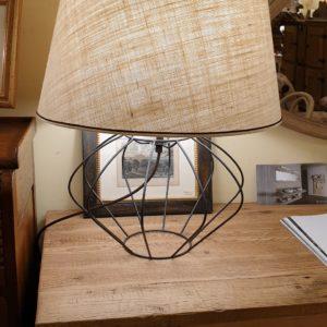 Lampada Zucca con base in ferro e paralume tronco di cono. Arredamento classico contemporaneo Siena e Firenze.