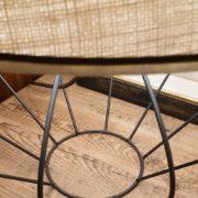 Lampada Zucca con base in ferro e paralume tronco di cono.Particolare cappello. Arredamento classico contemporaneo Siena e Firenze.