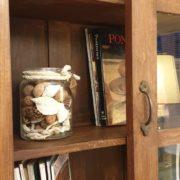 Libreria coloniale antica in legno di teak primi '900Anta a vetro scorrevole..Mobili antichi Siena e Firenze