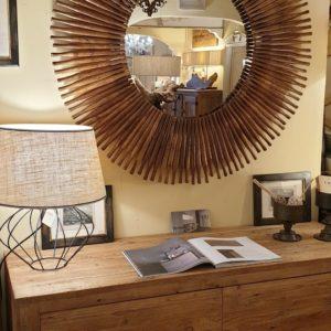 Specchiera Sole in legno ricavata con mattarelli antichi.Arredamento classico contemporaneo Siena e Firenze