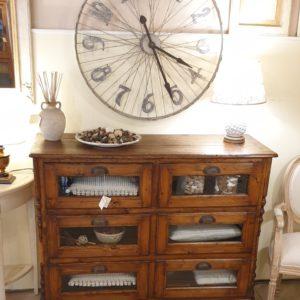 Cassettiera Toscana antica metà '800 in legno di larice massello a sei cassetti a vetro. Mobili antichi Siena e Firenze