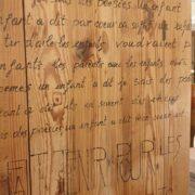 Armadio-stipo-credenza-dispensa in legno di larice vecchio a due ante. Particolare anta. Arredamento classico contemporaneo Siena e Firenze