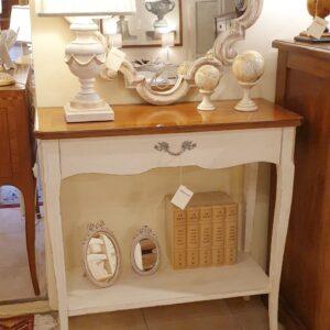 Consolle bicolore (versione noce- bianca) in legno di noce con piano intarsiato. Arredamento classico contemporaneo Siena e Firenze.