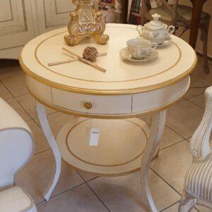 Tavolino rotondo laccato a mano con cornici e filetti in foglia oro. Arredamento classico contemporaneo Siena e Firenze