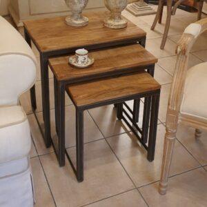 Tavolino Tris Industrial in legno di olmo antico e ferro. Arredamento classico contemporaneo Siena e Firenze