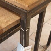 Tavolino Tris Industrial in legno di olmo antico e ferro. Paricolare struttura in ferro, Arredamento classico contemporaneo Siena e Firenze