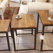 Tavolino Tris Industrial in legno di olmo antico e ferro. Separati. Arredamento classico contemporaneo Siena e Firenze