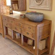 Consolle cassettiera in legno di larice dei primi del '900. Mobili antichi Siena e Firenze (8)