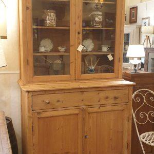 Credenza con alzata a vetrina toscana antica fine '800 in legno di larice naturale. Mobili antichi Siena e Firenze